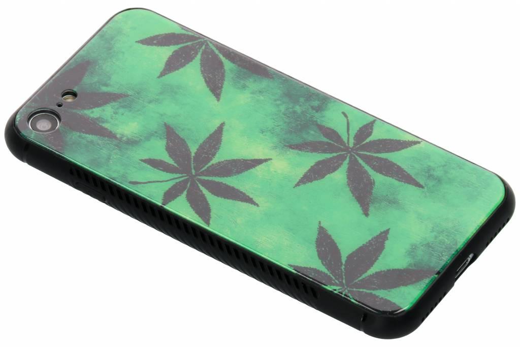 Groene plant design glazen hardcase voor de iPhone 8 / 7