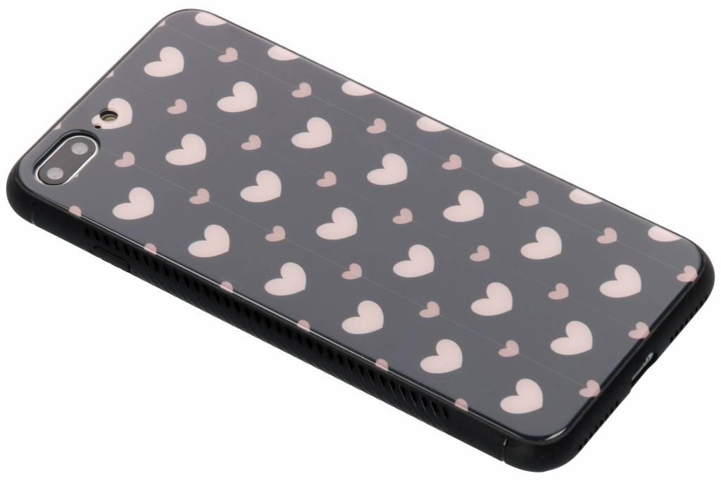 Roze hartjes design glazen hardcase voor de iPhone 8 Plus / 7 Plus