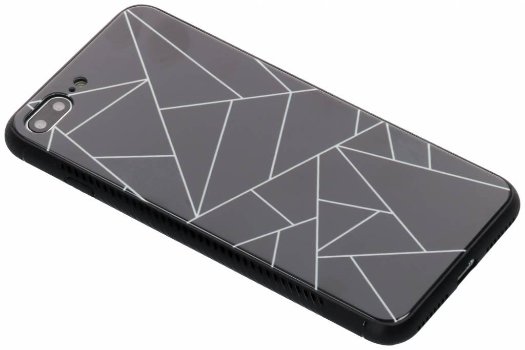 Zwart grafisch design glazen hardcase voor de iPhone 8 Plus / 7 Plus