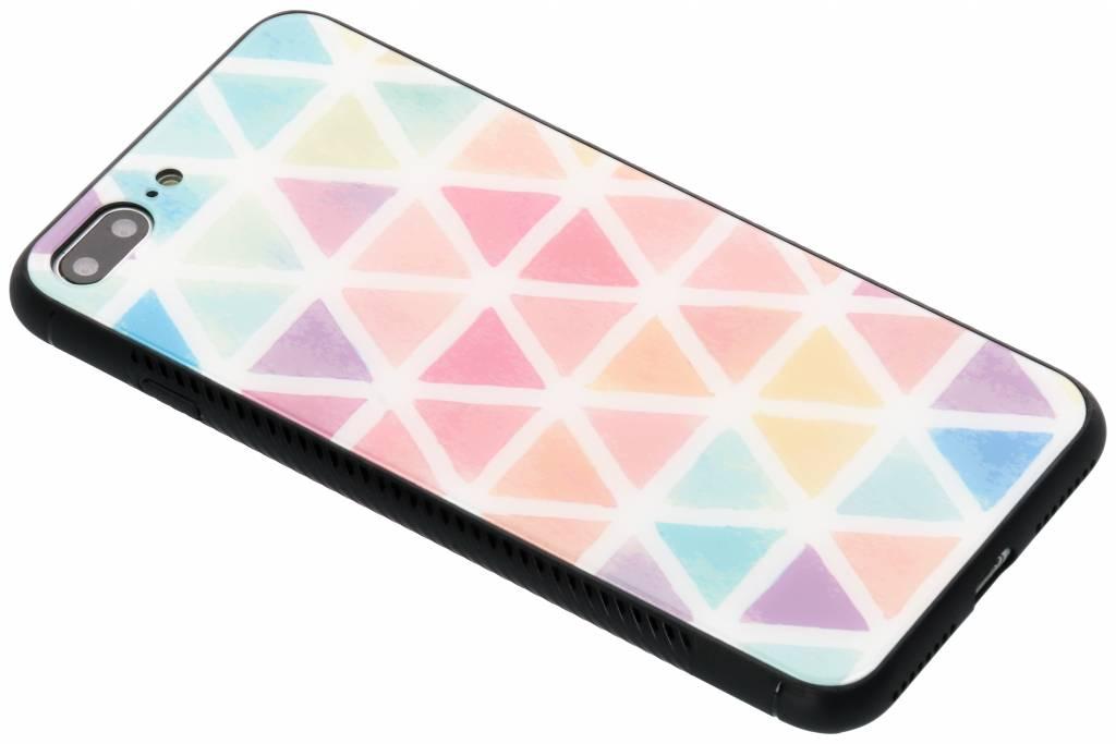 Gekleurd driehoekjes design glazen hardcase voor de iPhone 8 Plus / 7 Plus