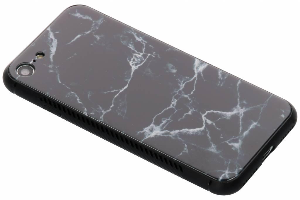 Zwart marmer design glazen hardcase voor de iPhone 8 / 7