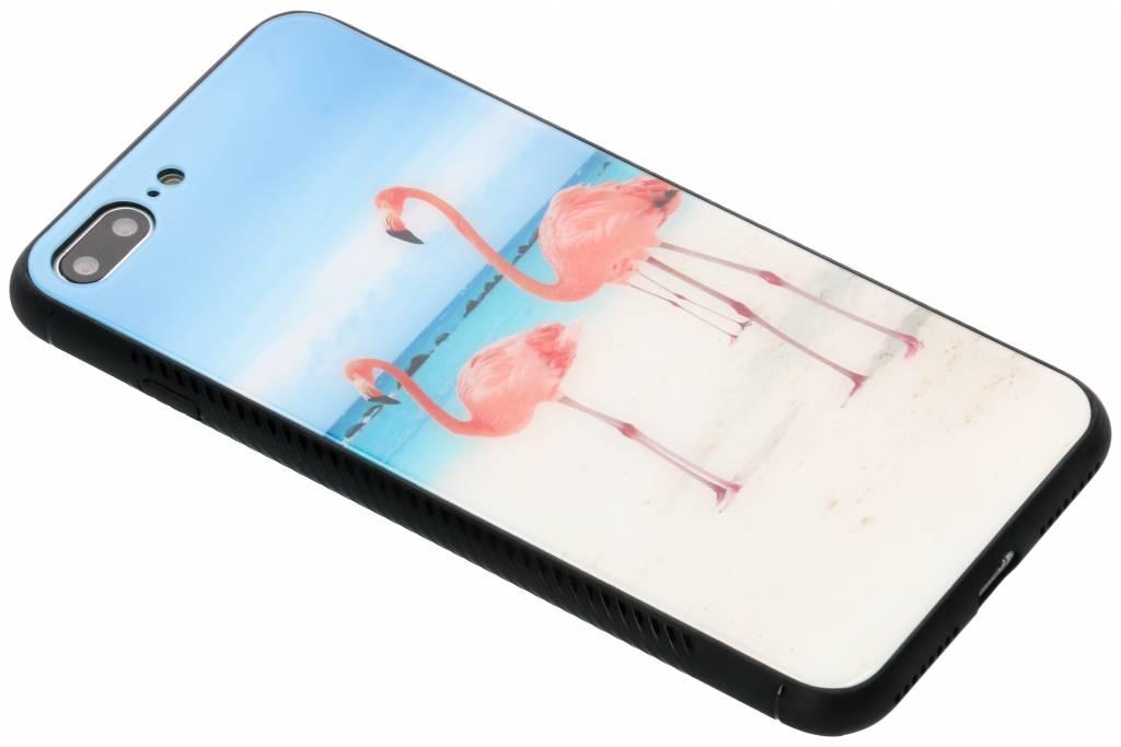 Flamingo beach design glazen hardcase voor de iPhone 8 Plus / 7 Plus