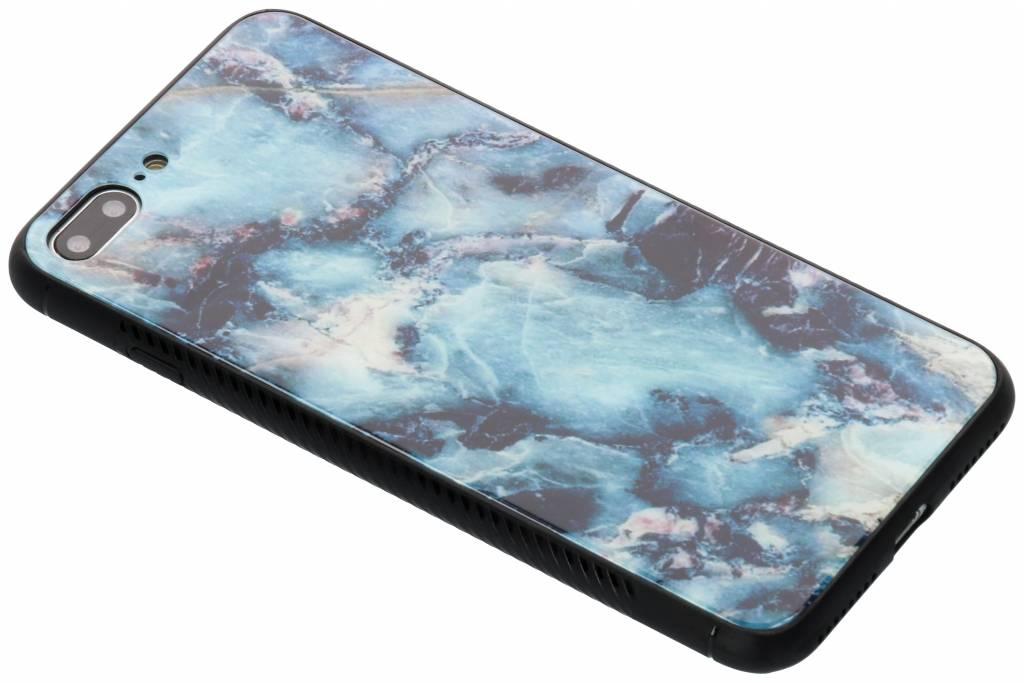 Blauw marmer design glazen hardcase voor de iPhone 8 Plus / 7 Plus