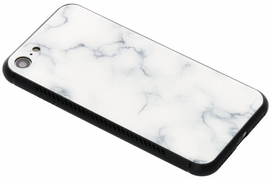 Wit marmer design glazen hardcase voor de iPhone 8 / 7
