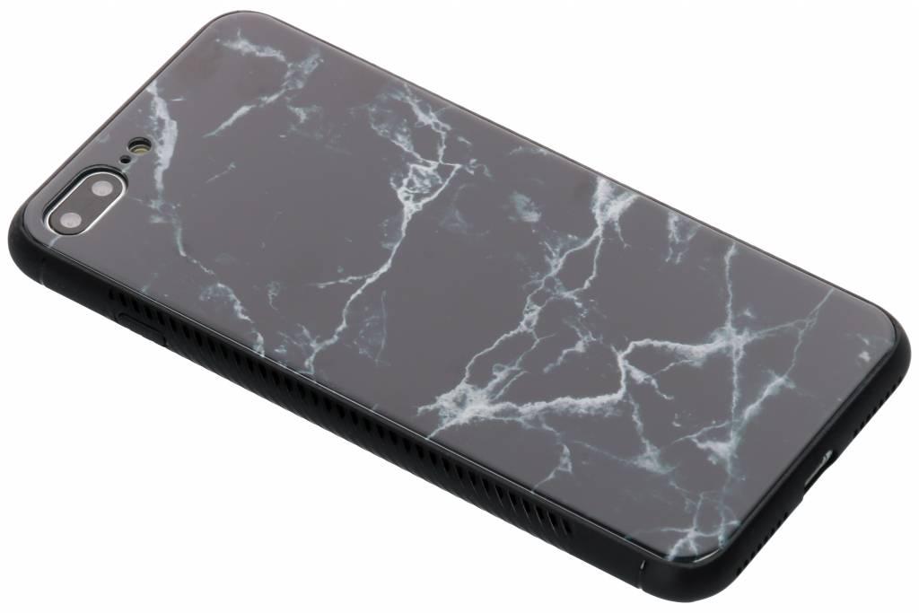 Zwart marmer design glazen hardcase voor de iPhone 8 Plus / 7 Plus