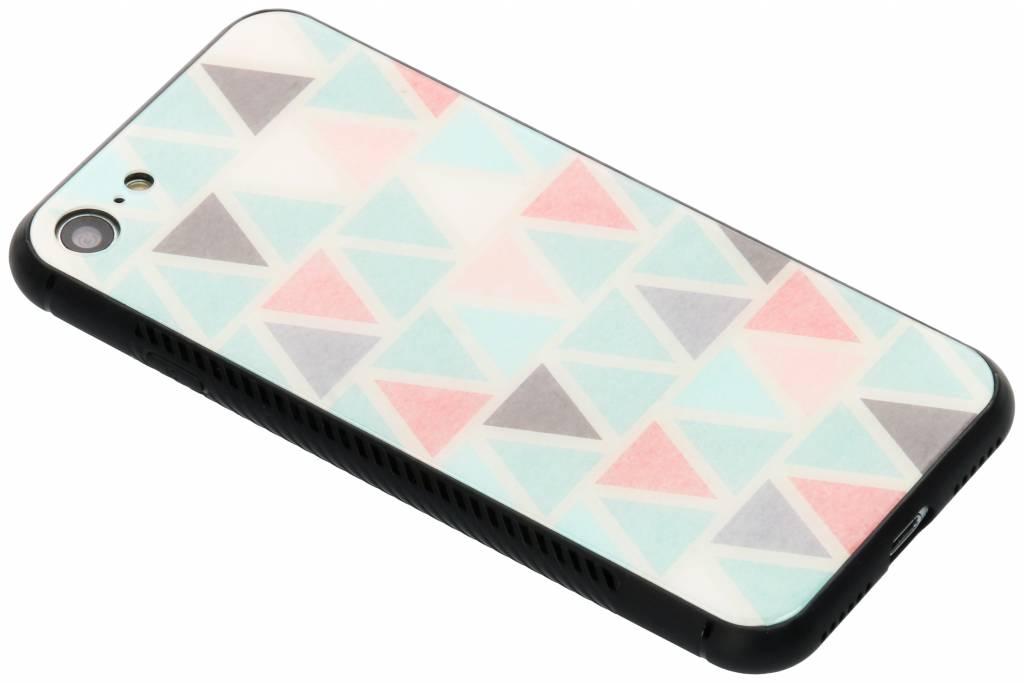 Grafisch driehoekjes design glazen hardcase voor de iPhone 8 / 7