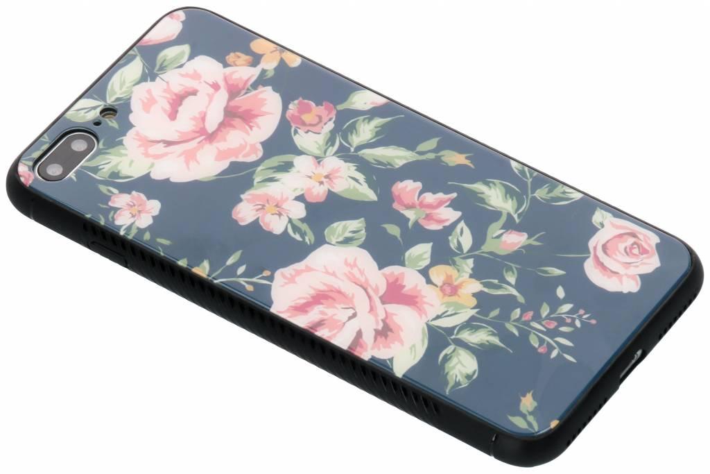 Blauw bloemen design glazen hardcase voor de iPhone 8 Plus / 7 Plus