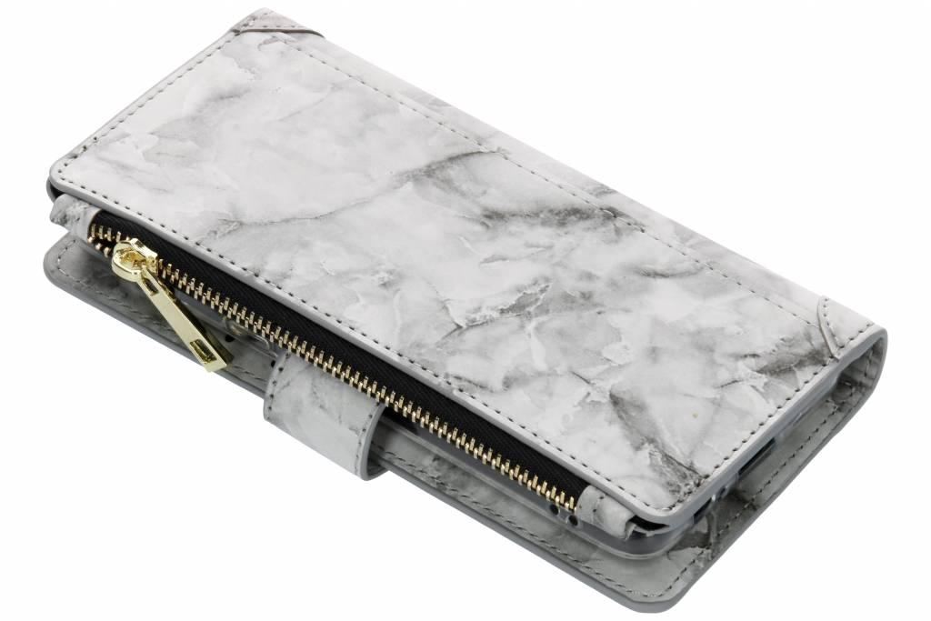 Grijze marmer design luxe portemonnee hoes voor de Samsung Galaxy A8 (2018)