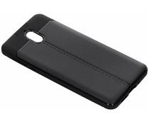 Zwart lederen siliconen case Nokia 3.1