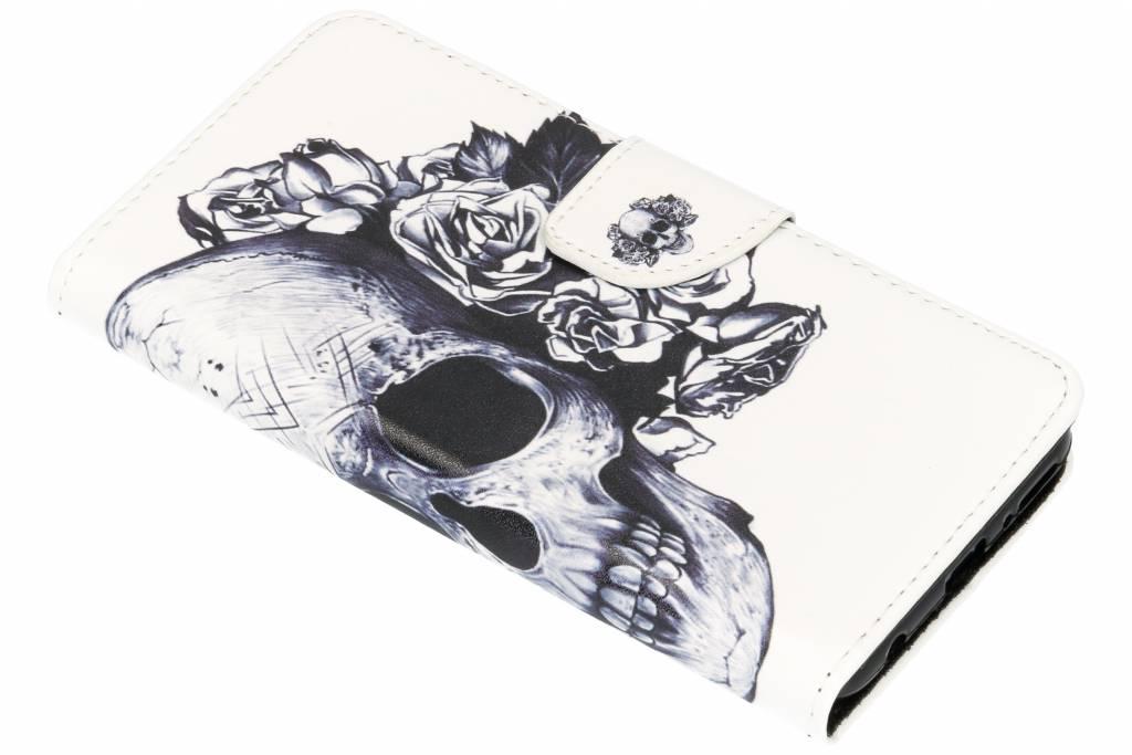 Doodshoofd design TPU booktype hoes voor de Huawei Y7 (2018)