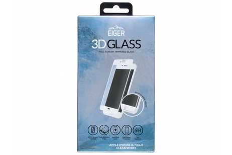 Eiger Tempered Glass Screenprotector voor iPhone 8 / 7 / 6s / 6 - Wit