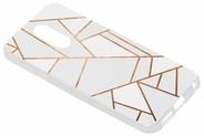 Design Backcover voor LG Q7 - Grafisch Wit / Koper