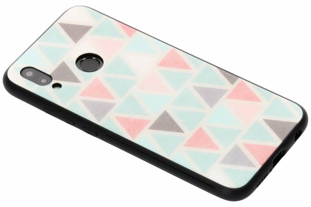 Grafisch driehoekjes design glazen hardcase voor de Huawei P20 Lite