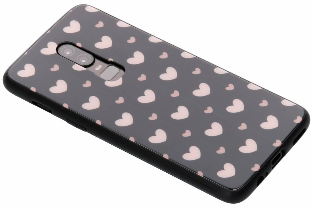 Roze hartjes design glazen hardcase voor de OnePlus 6