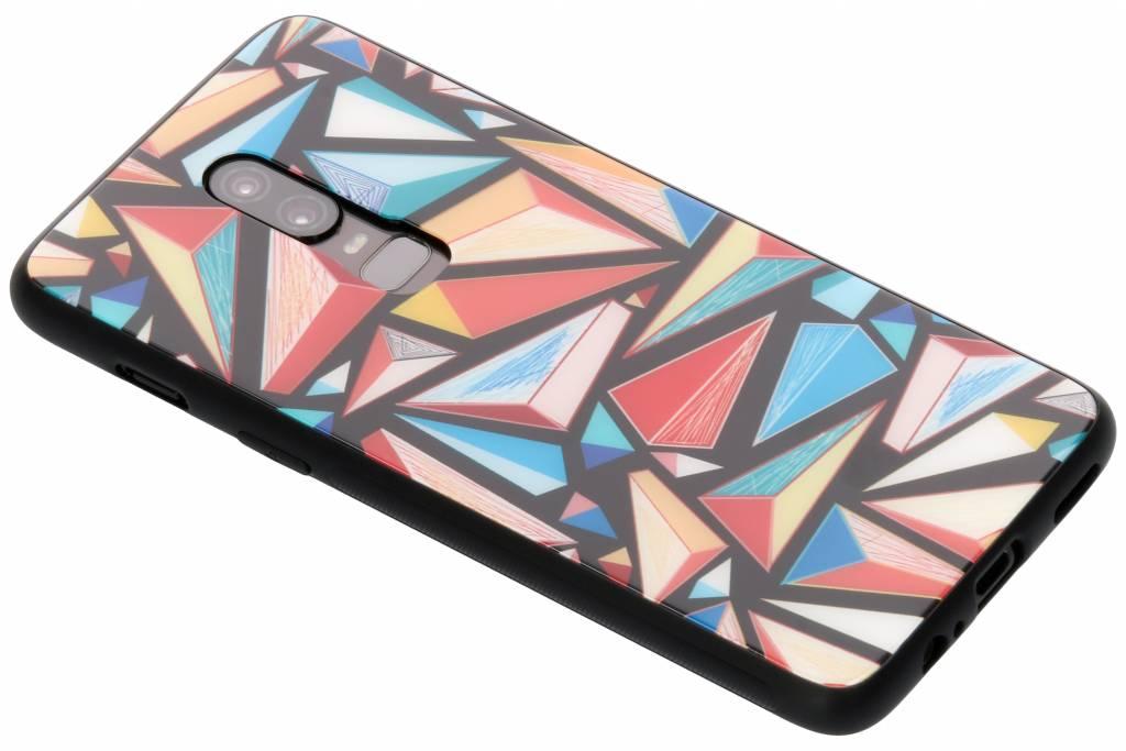 Grafische kleuren design glazen hardcase voor de OnePlus 6