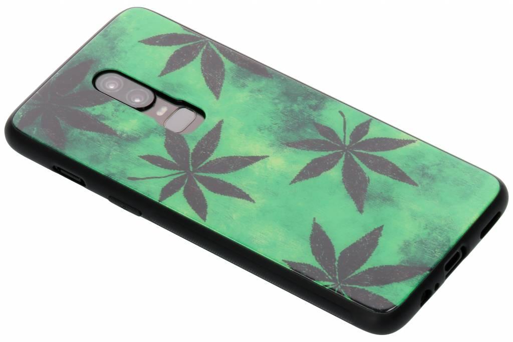 Groene plant design glazen hardcase voor de OnePlus 6