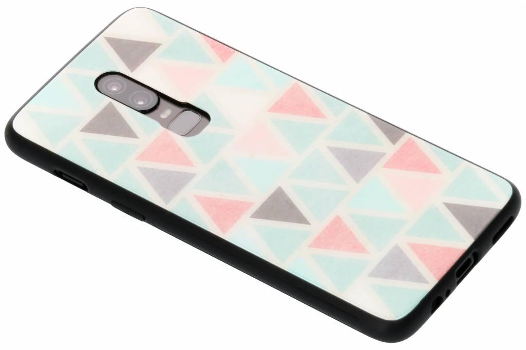 Grafisch driehoekjes design glazen hardcase voor de OnePlus 6