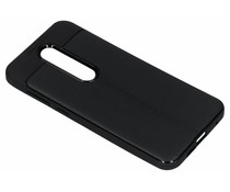Zwart lederen siliconen case Nokia 6.1 Plus