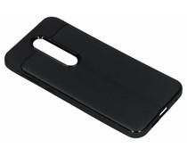 Zwart lederen siliconen case Nokia X6