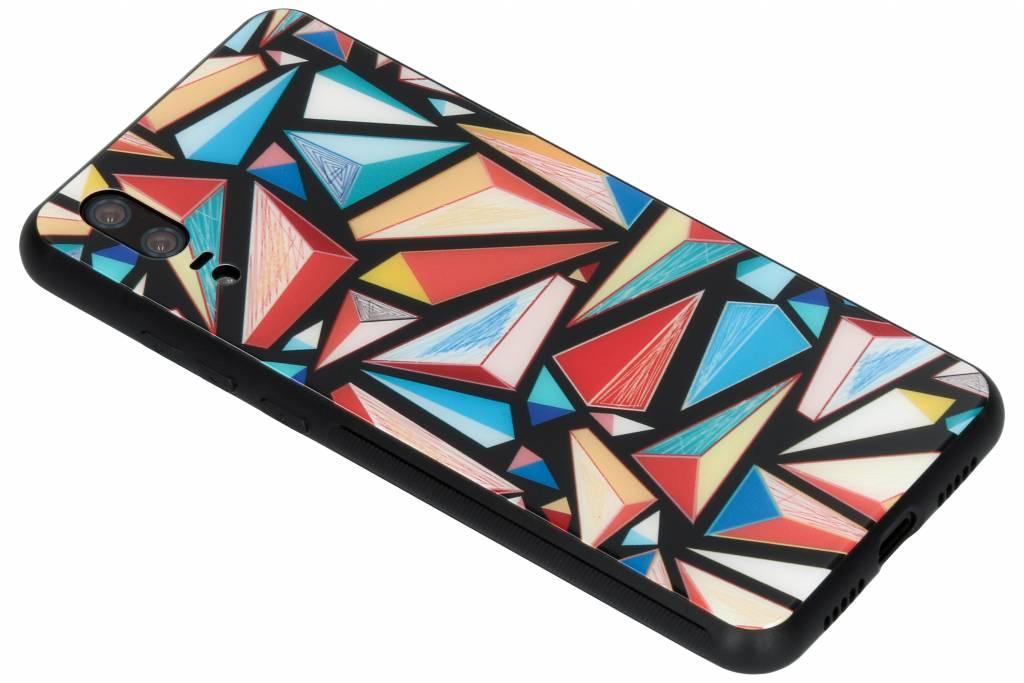 Grafische kleuren design glazen hardcase voor de Huawei P20