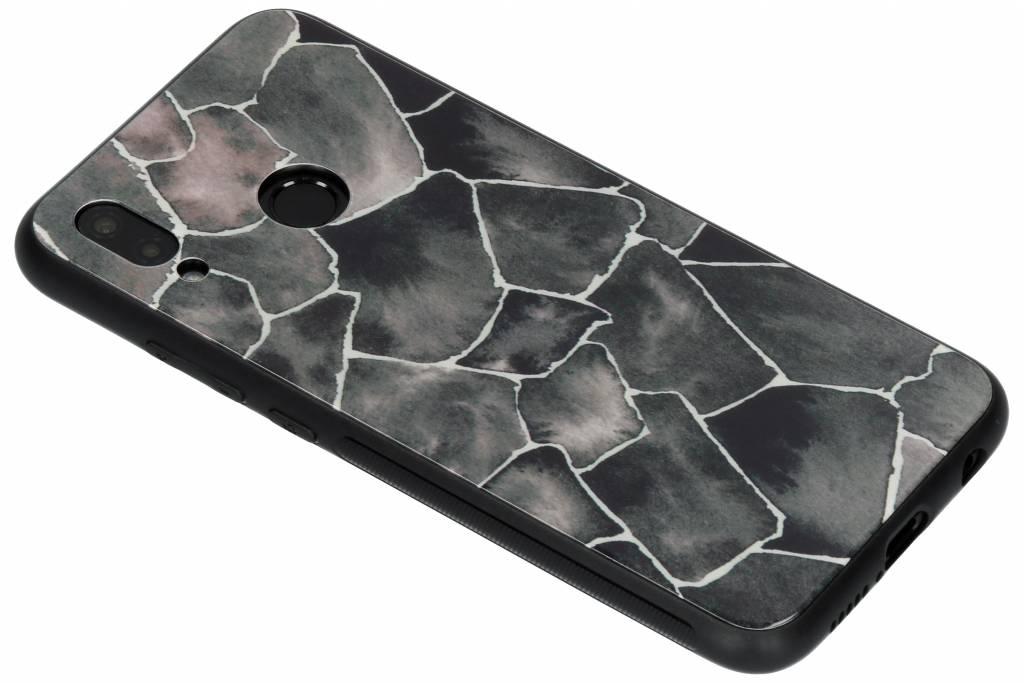 Grafisch steen design glazen hardcase voor de Huawei P20 Lite