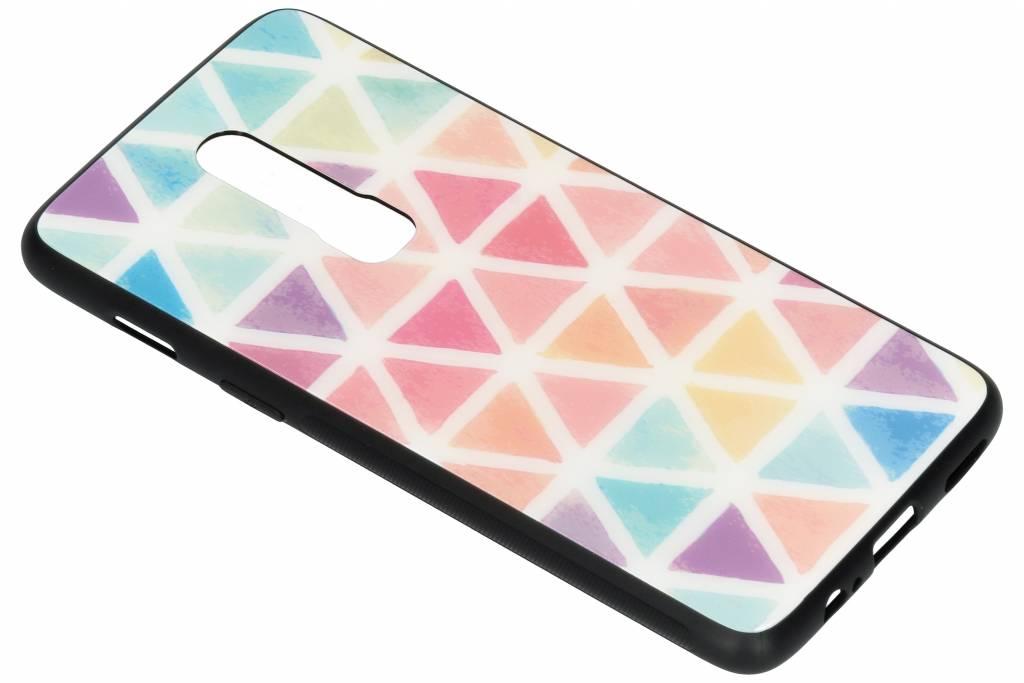 Gekleurd driehoekjes design glazen hardcase voor de OnePlus 6