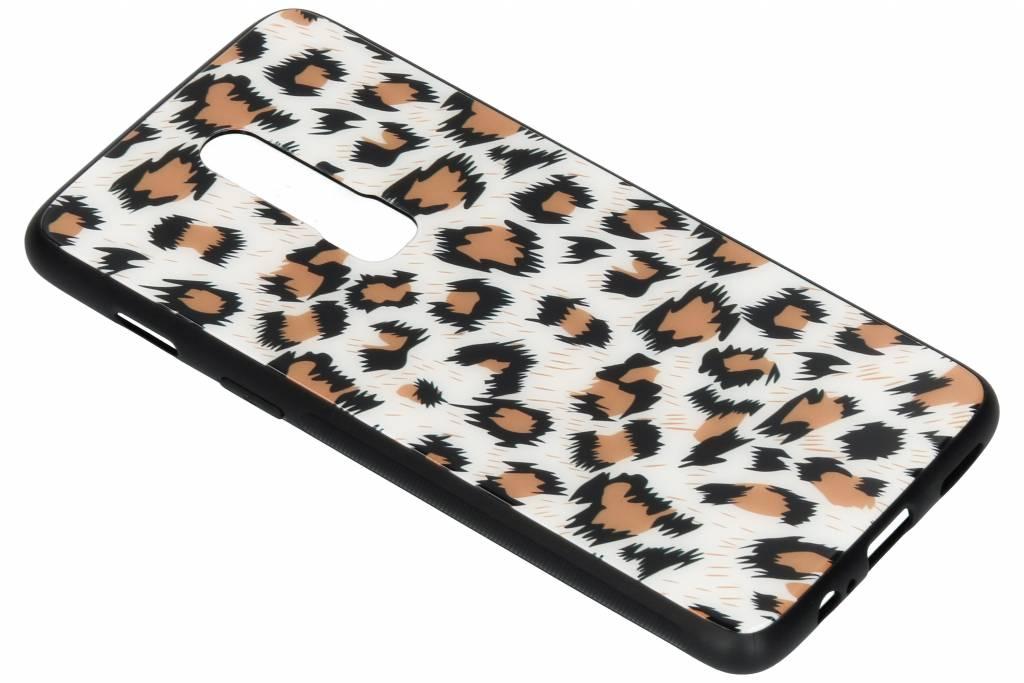 Luipaard design glazen hardcase voor de OnePlus 6