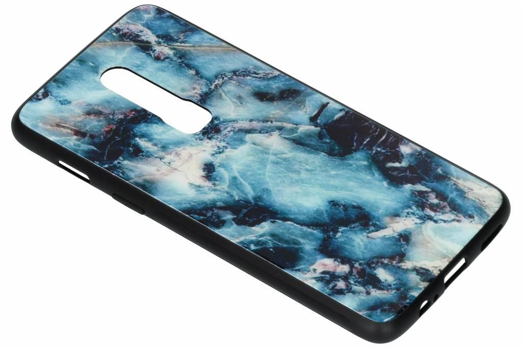 Blauw marmer design glazen hardcase voor de OnePlus 6