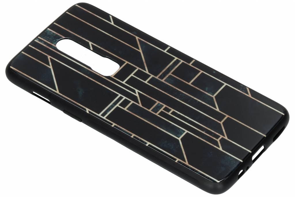 Grafische lijnen design glazen hardcase voor de OnePlus 6