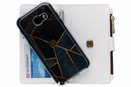 Design Luxe Portemonnee voor Samsung Galaxy A5 (2017) - Grafisch Zwart / Koper