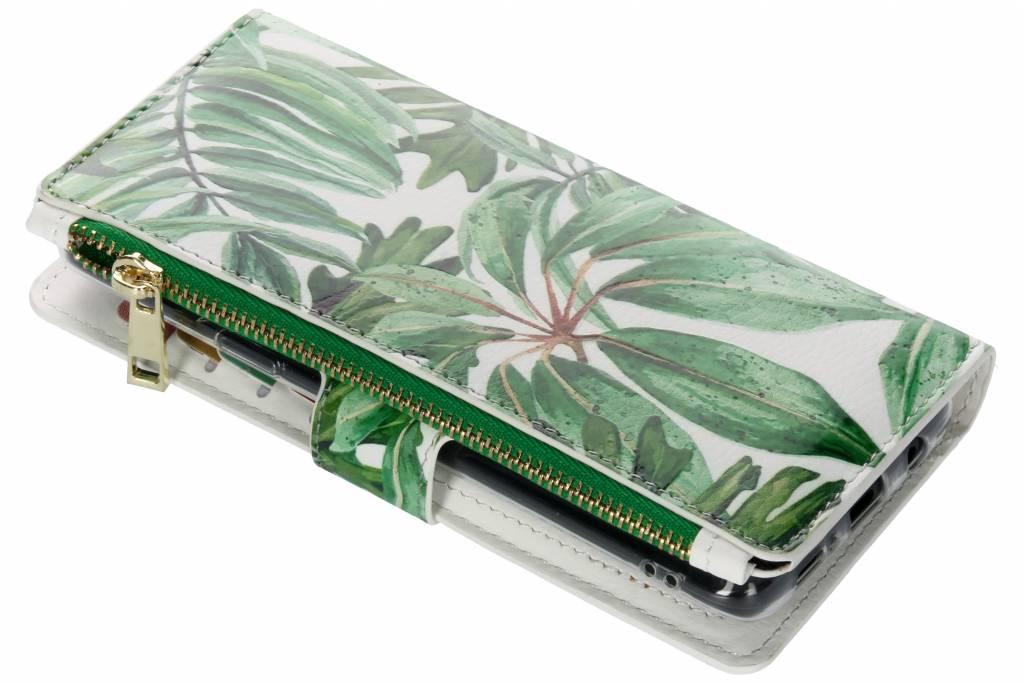 Design Luxe Portemonnee voor Samsung Galaxy S9 Plus - Bladeren Groen