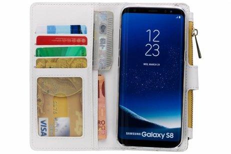 Design Luxe Portemonnee voor Samsung Galaxy S8 - Panter Geel