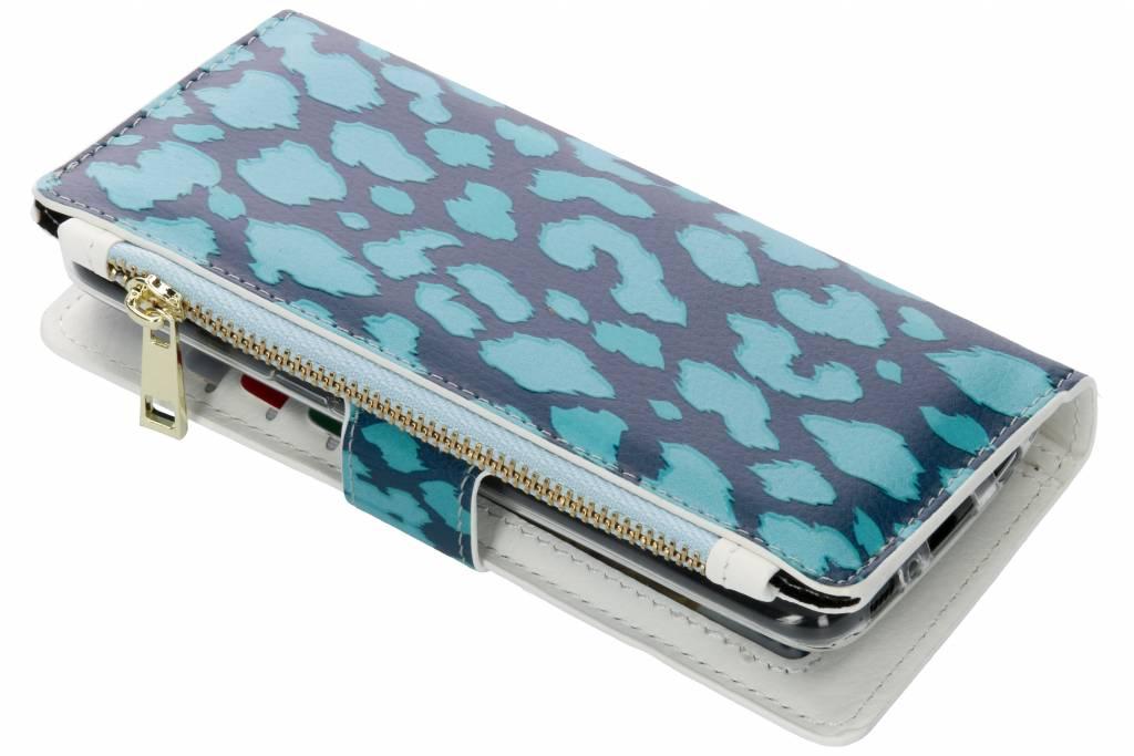 Panter donkerblauw design luxe portemonnee hoes voor de Samsung Galaxy S8