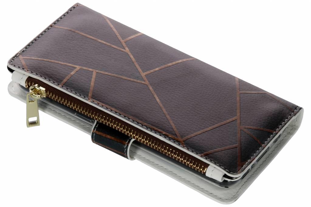 Design Luxe Portemonnee voor Samsung Galaxy S8 - Grafisch Zwart / Koper