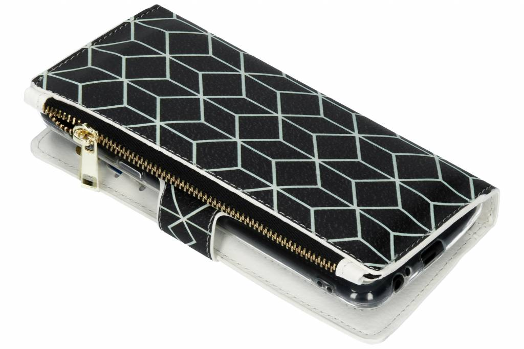 Design Luxe Portemonnee voor Samsung Galaxy A6 Plus (2018) - Cubes Black