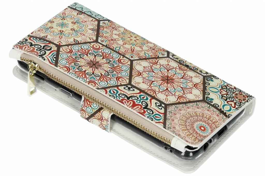 Hippie design luxe portemonnee hoes voor de Samsung Galaxy A6 Plus (2018)