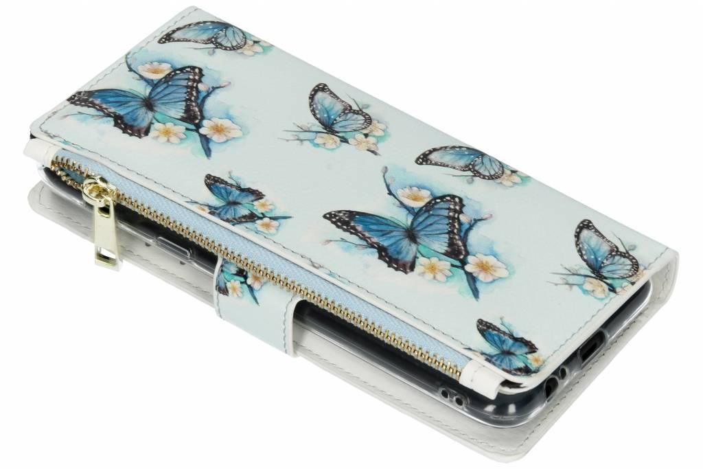Design Luxe Portemonnee voor Samsung Galaxy A6 Plus (2018) - Vlinders