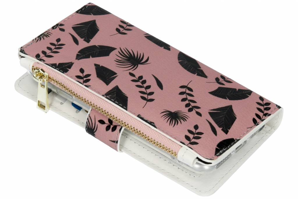 Design Luxe Portemonnee voor iPhone 8 / 7 - Leafs Zwart