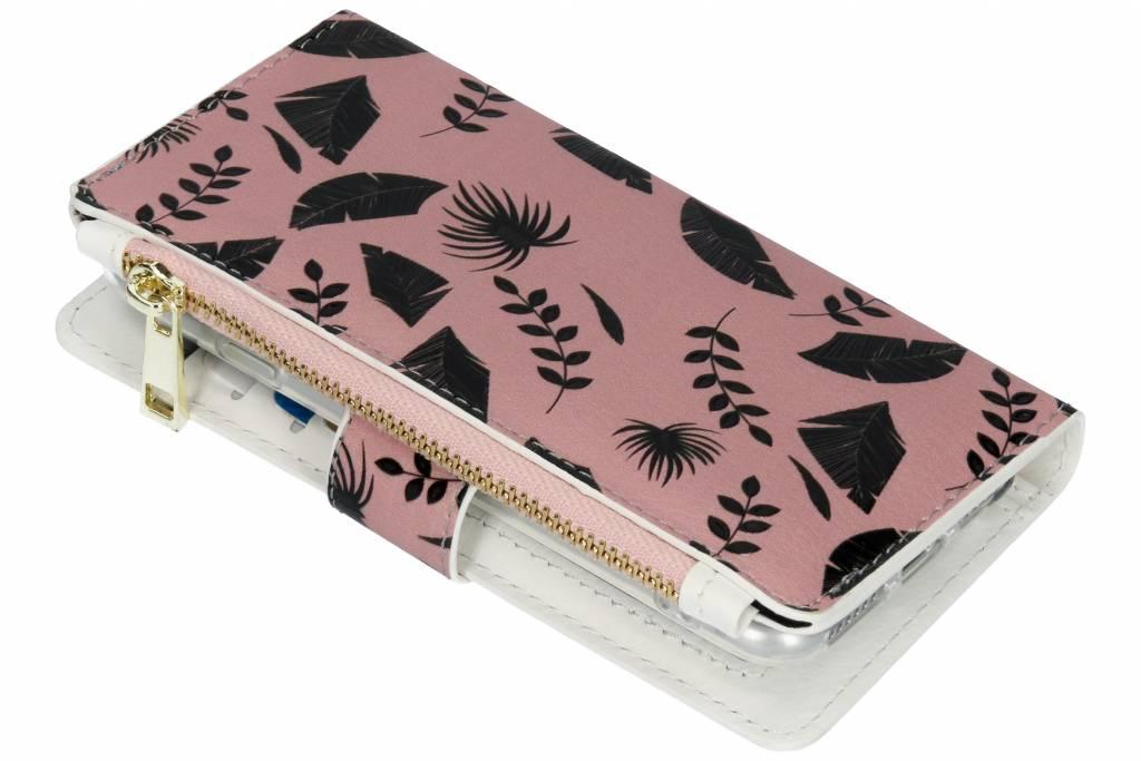 Leafs zwart design luxe portemonnee hoes voor de iPhone 8 / 7