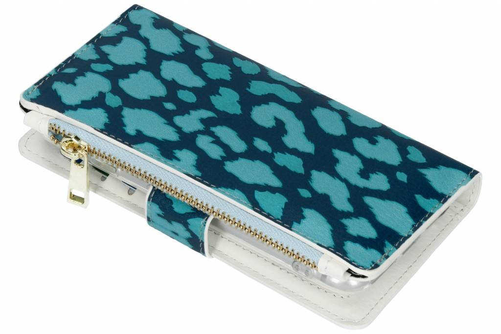 Design Luxe Portemonnee voor iPhone 8 / 7 - Panter Donkerblauw