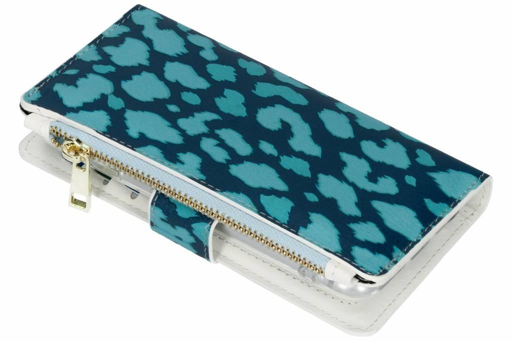 Panter donkerblauw design luxe portemonnee hoes voor de iPhone 8 / 7