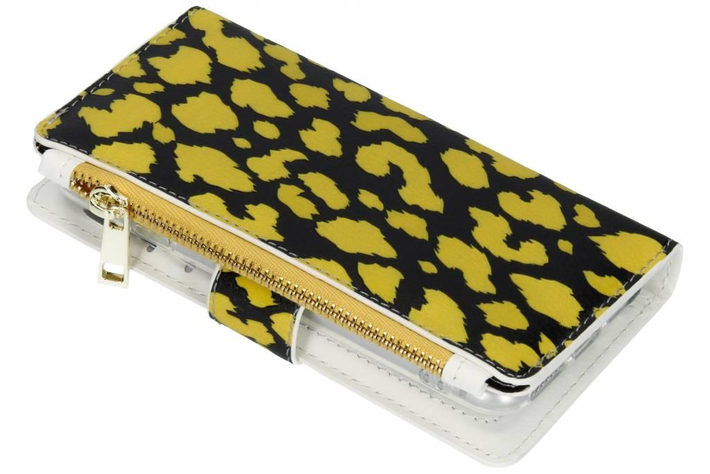 Panter geel design luxe portemonnee hoes voor de iPhone 8 / 7