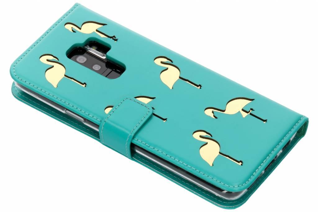Mintgroene Flamingo Booklet Case voor de Samsung Galaxy S9 Plus