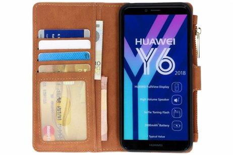 Luxe Portemonnee voor Huawei Y6 (2018) - Bruin