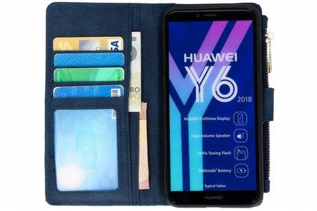Luxe Portemonnee voor Huawei Y6 (2018) - Donkerblauw