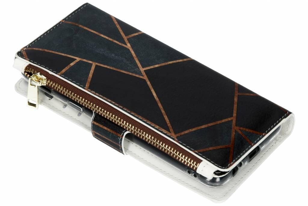 Zwart grafisch design luxe portemonnee hoes voor de Samsung Galaxy A6 Plus (2018)