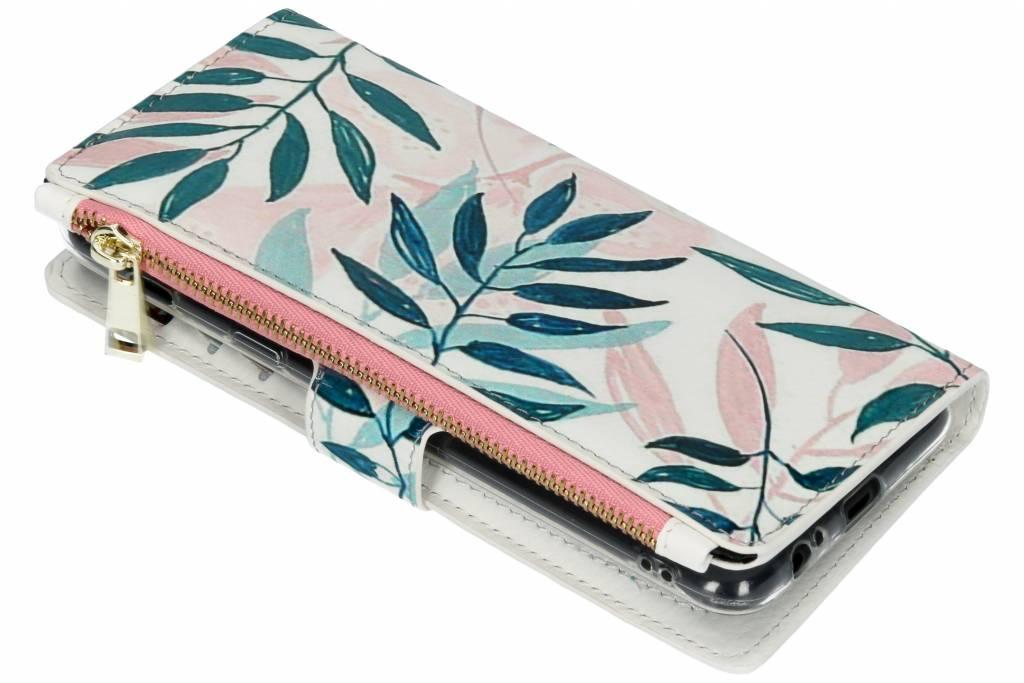 Design Luxe Portemonnee voor Samsung Galaxy A6 Plus (2018) - Bladeren