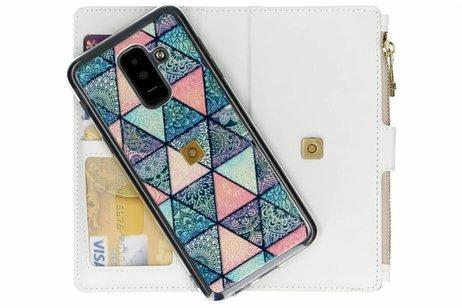 Design Luxe Portemonnee voor Samsung Galaxy A6 Plus (2018) - Grafisch Triangels