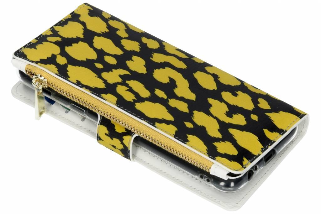 Panter geel design luxe portemonnee hoes voor de Samsung Galaxy A6 Plus (2018)