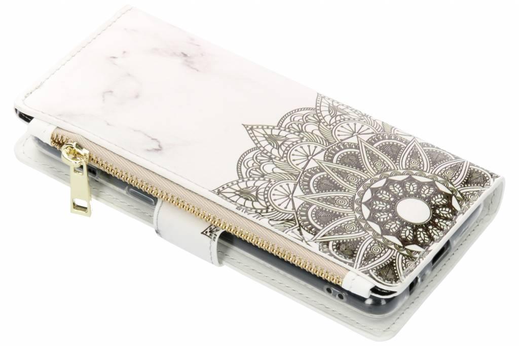 Mandala marmer design luxe portemonnee hoes voor de Samsung Galaxy A8 (2018)